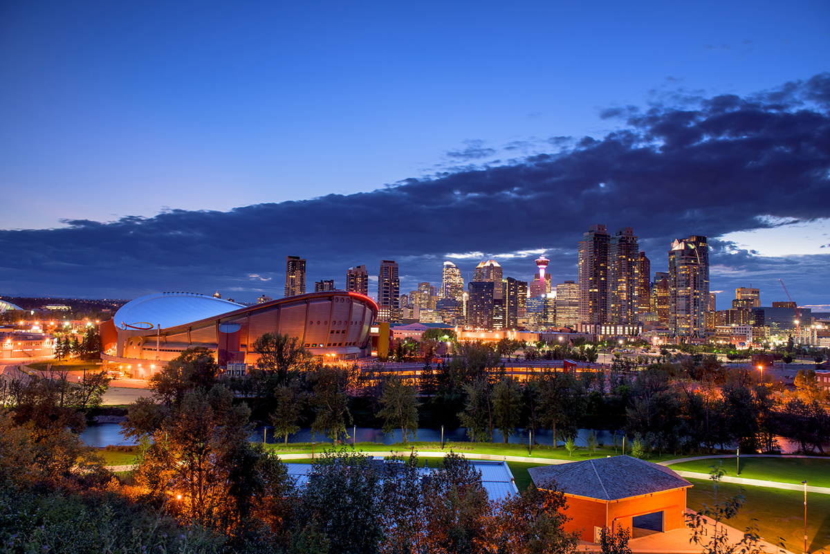a night skyline of calgary